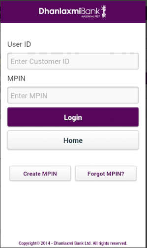Dhanlaxmi Bank Login 2