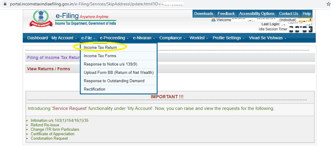 Income tax return upload