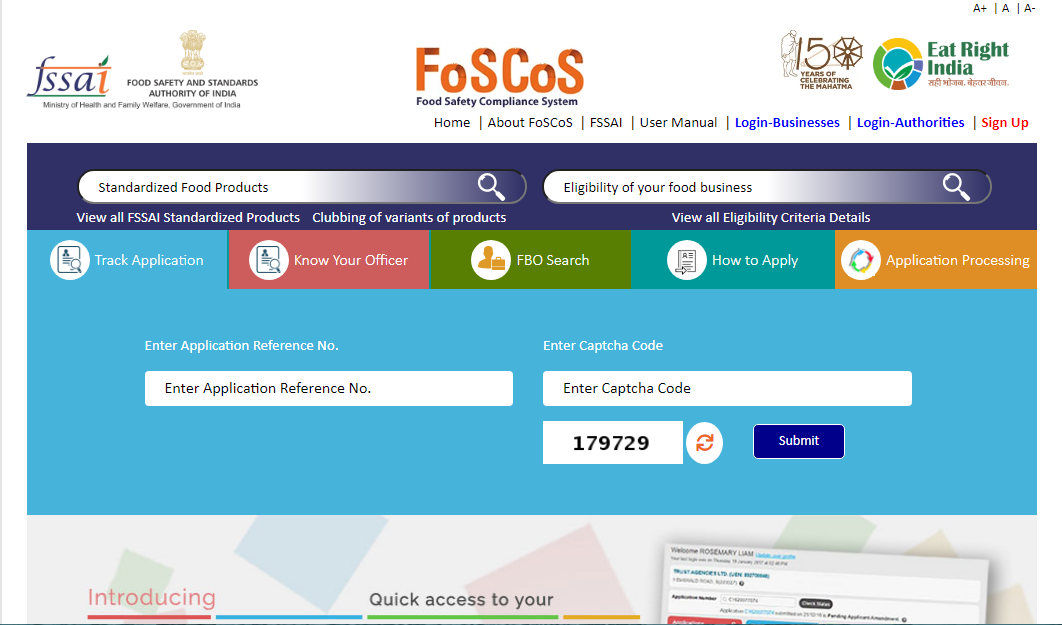 The home page of the FoSCoS FSSAI website