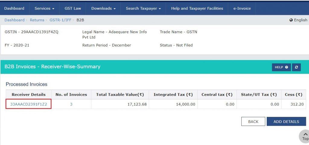 Modify e-invoice in GSTR-1 (10)