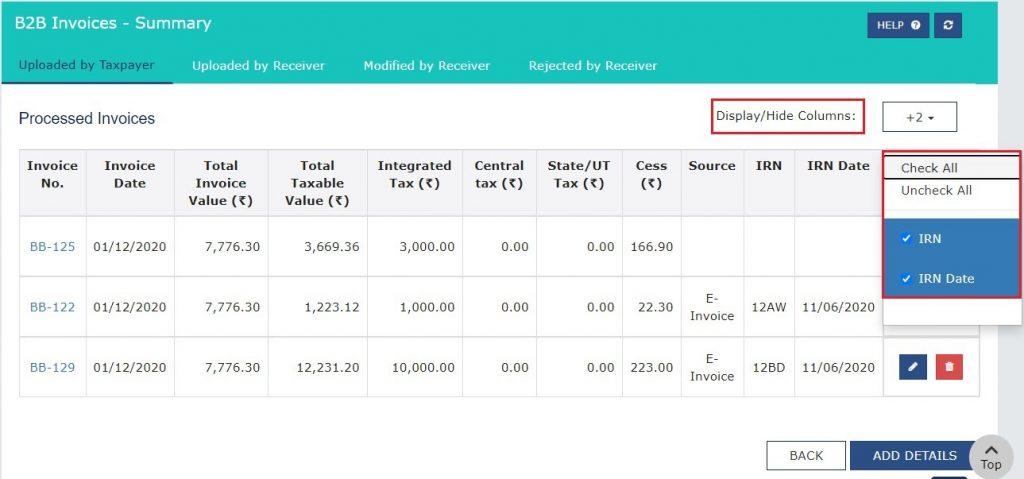 Modify e-invoice in GSTR-1 (12)