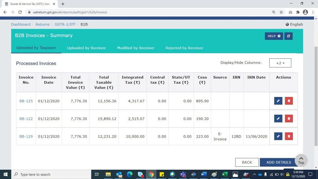 Modify e-invoice in GSTR-1 (13)