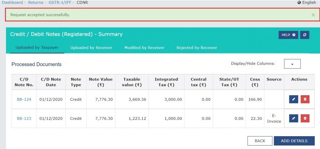 Modify e-invoice in GSTR-1 (17)