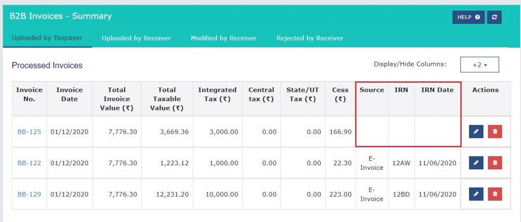 Modify e-invoice in GSTR-1 (18)