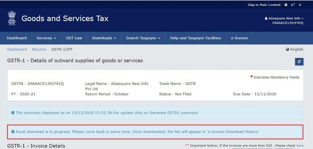 Modify e-invoice in GSTR-1 (20)
