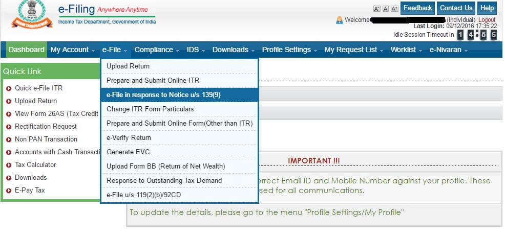defective income tax return notice