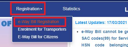 registration eway bill
