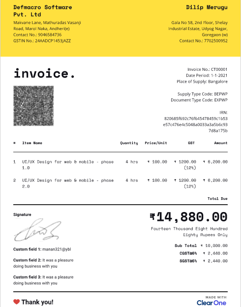 screenshot of a sample of tax invoice