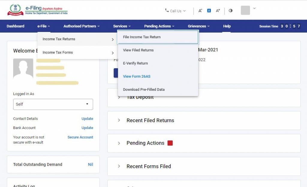 Income tax portal dashboard