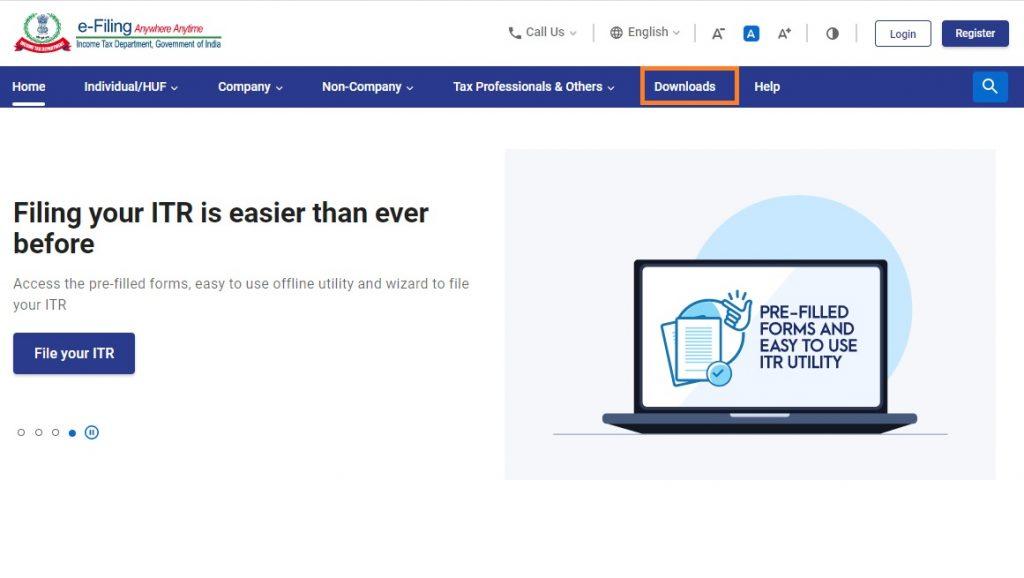 Income tax portal home page