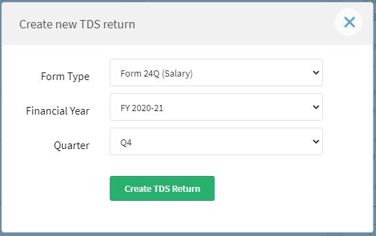 Create new TDS return
