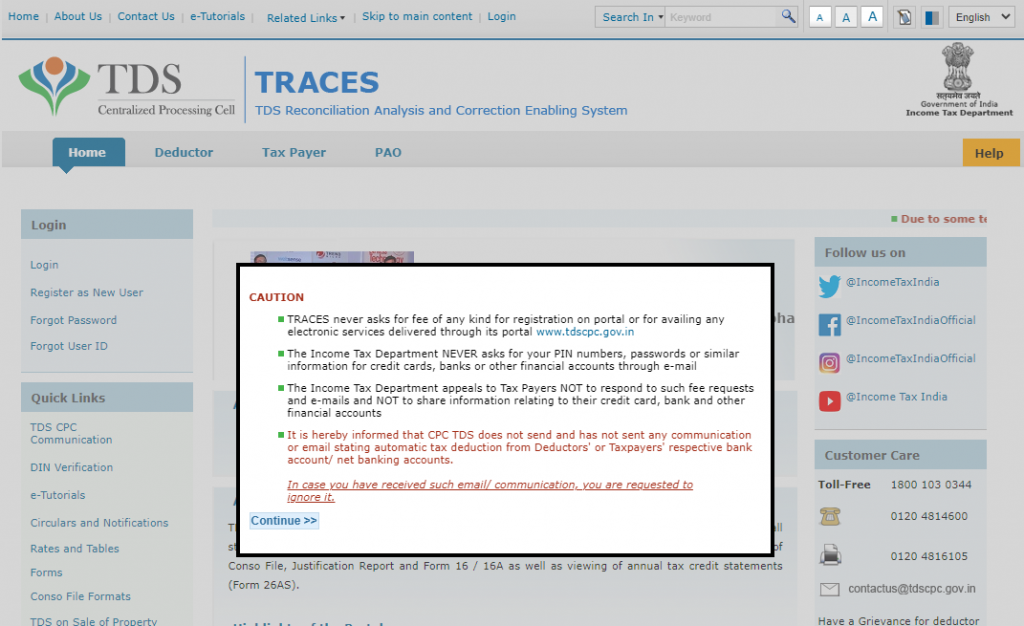 Traces home page