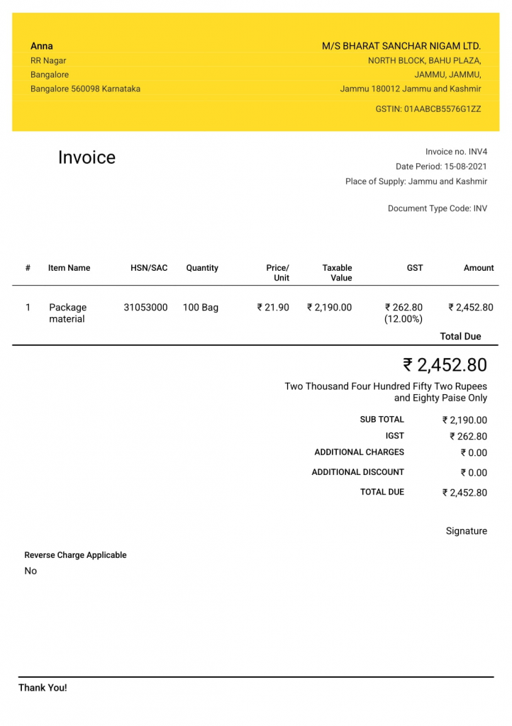 Standard invoice formats