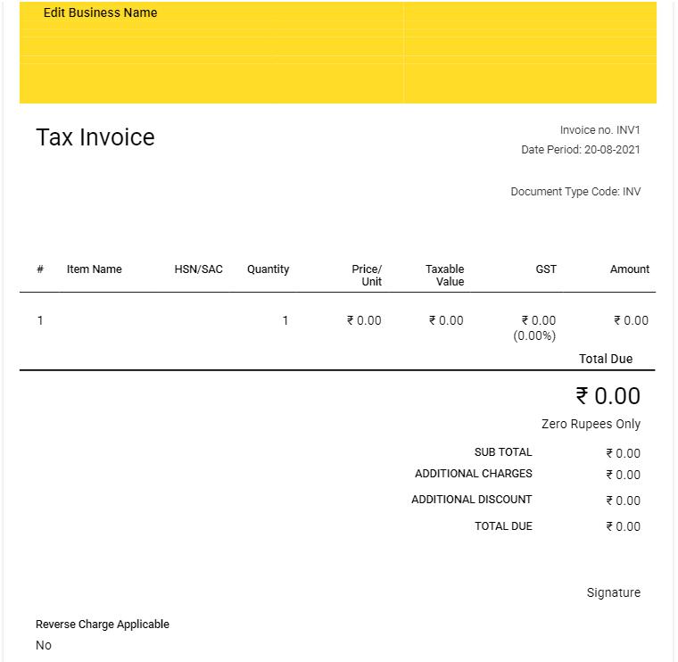 tax invoice format